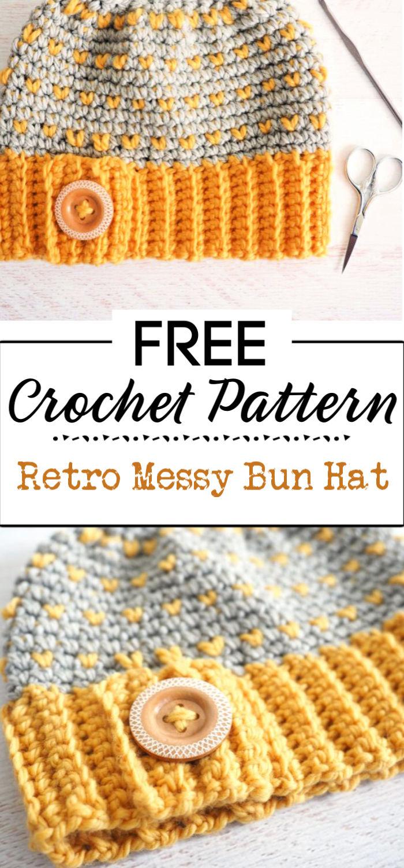 1. Retro Messy Bun Hat Crochet Pattern