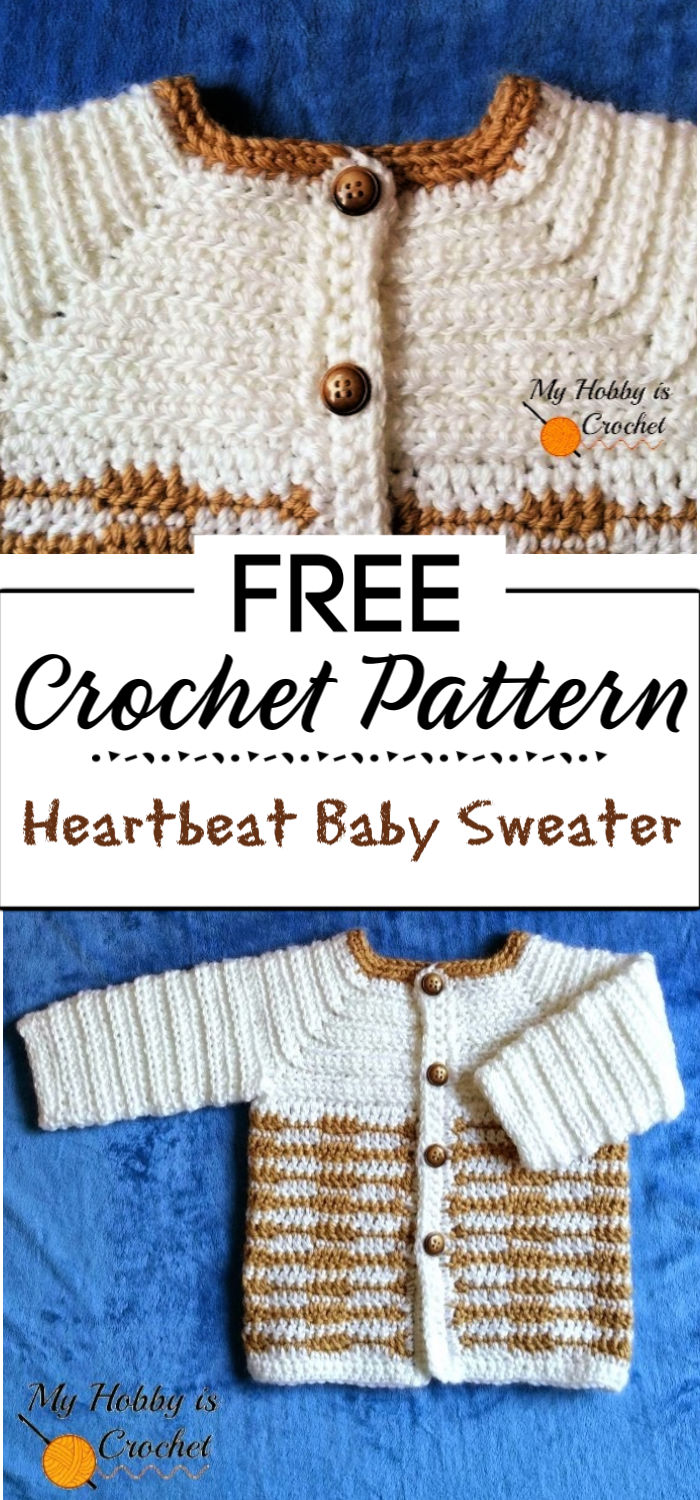 2. Heartbeat Baby Sweater Free Crochet Pattern with Tutorial