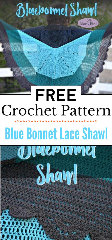 4. Blue Bonnet Crochet Lace Shawl