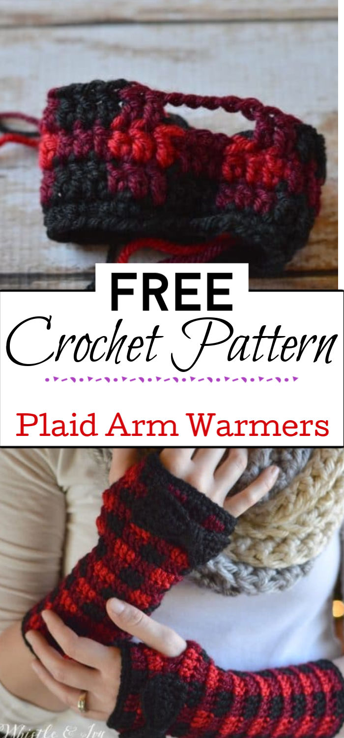 4. Crochet Plaid Arm Warmers Free Crochet Pattern
