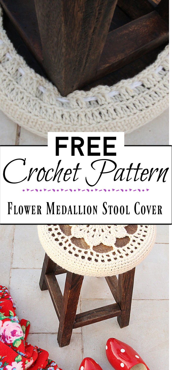 4. Crocheted Flower Medallion Stool Cover Pattern