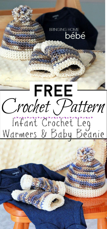4. Infant Crochet Leg Warmers Baby Beanie
