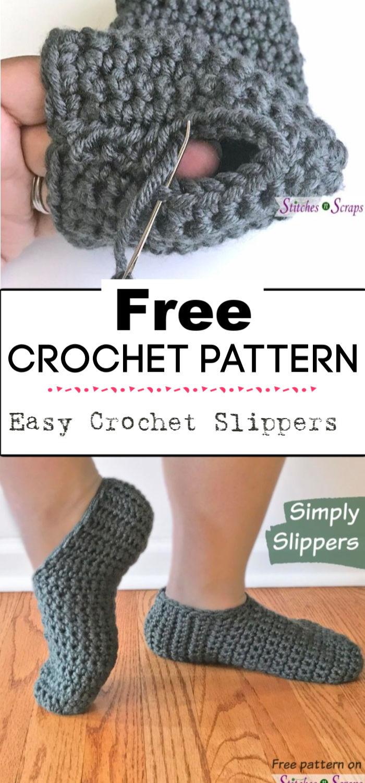 4.Easy Crochet Slippers