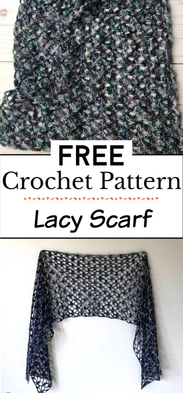5. Crochet Lacy Scarf Pattern