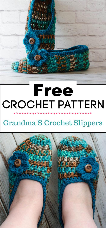 5.GrandmaS Crochet Slippers