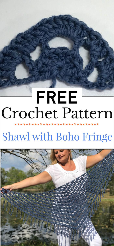 6. Crochet Shawl with Boho Fringe