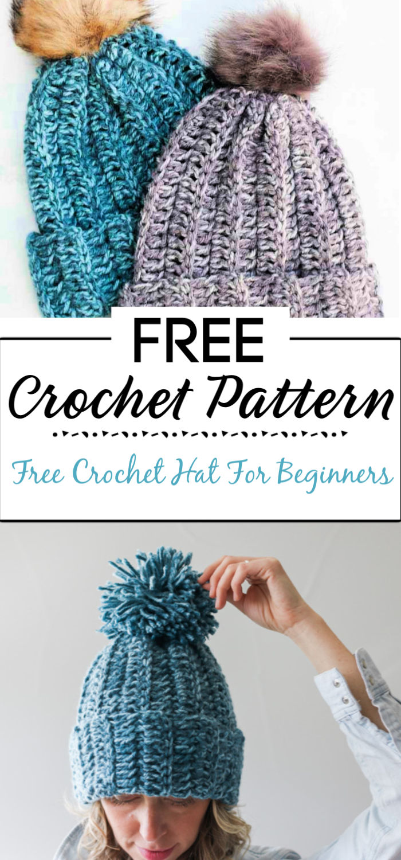 6. Free Crochet Hat Pattern For Beginners