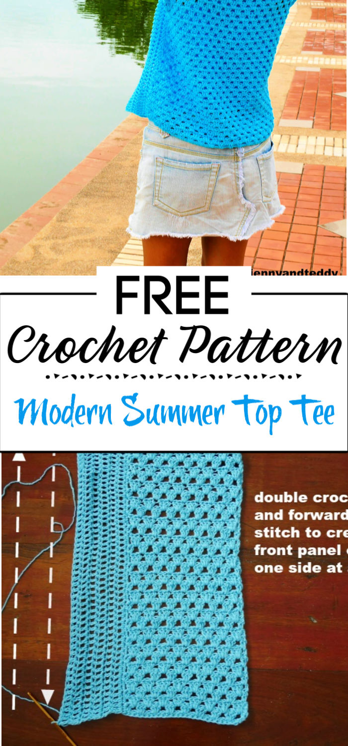 6. Modern Summer Top Tee Free Crochet Pattern