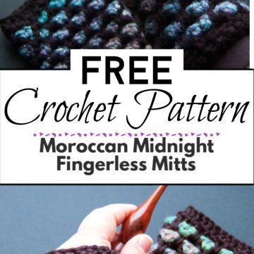 6. Moroccan Midnight Fingerless Mitts