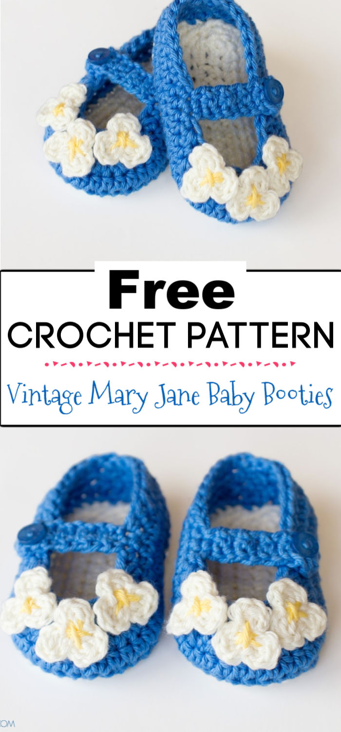 6. Vintage Mary Jane Baby Booties Crochet Pattern