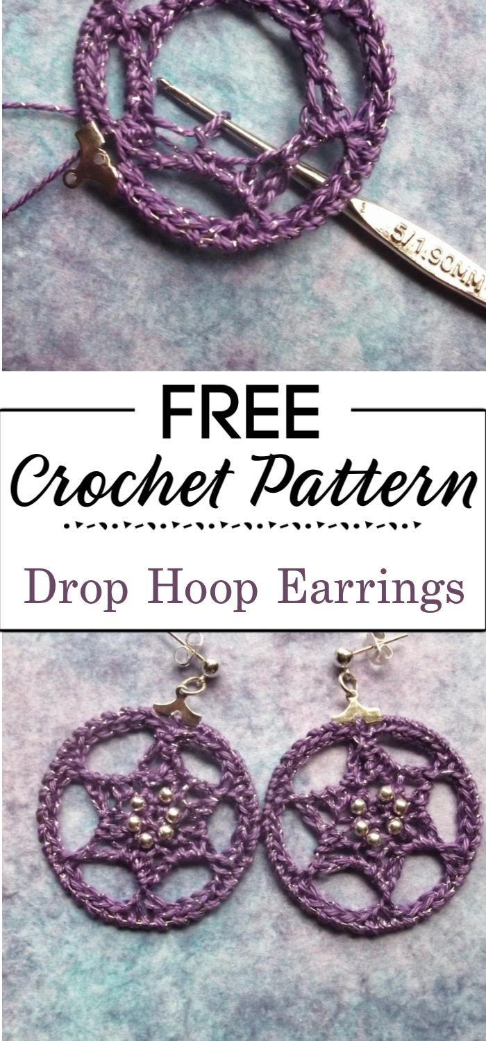 7. Crocheted Drop Hoop Earrings.