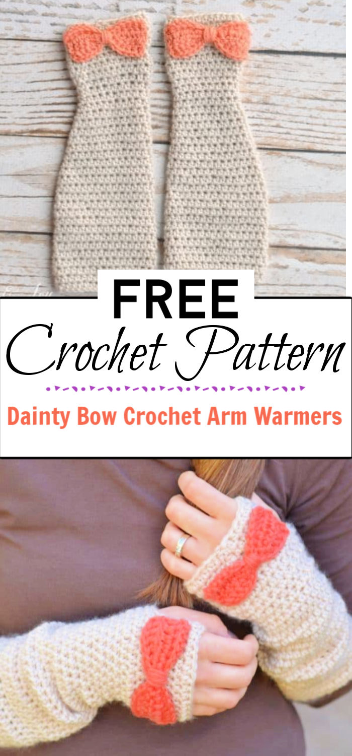 7. Dainty Bow Crochet Arm Warmers