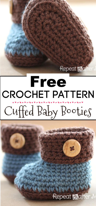 8. Crochet Cuffed Baby Booties Pattern
