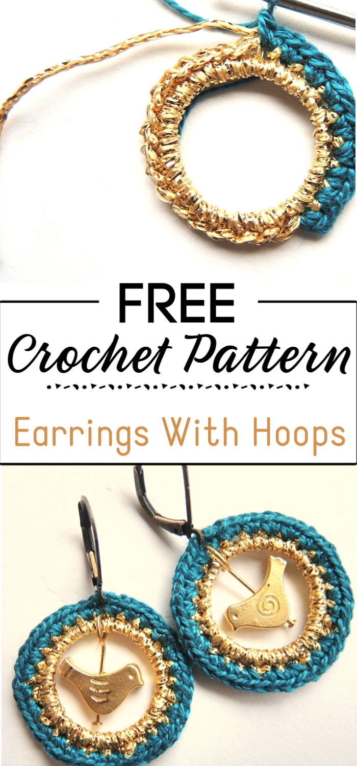 8. Earrings With Crocheted Hoops