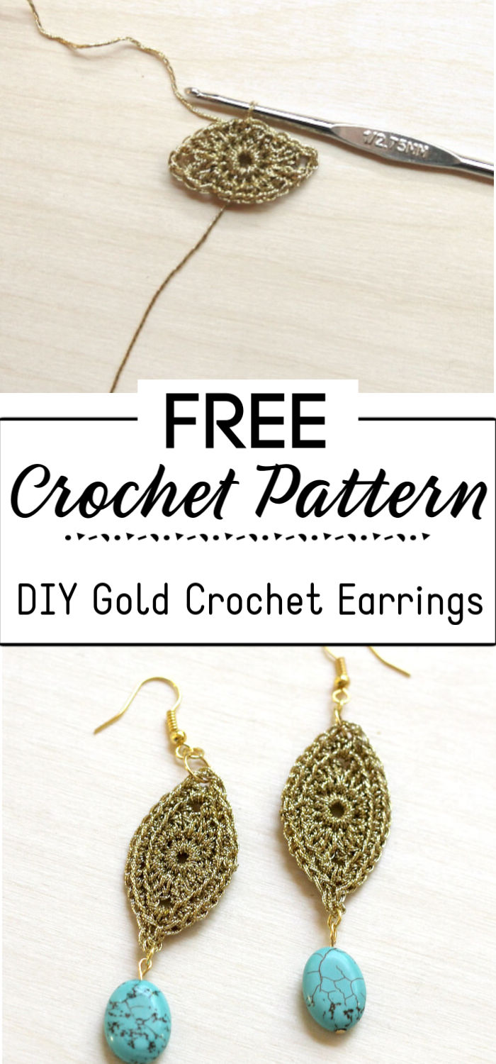 9. DIY Gold Crochet Earrings