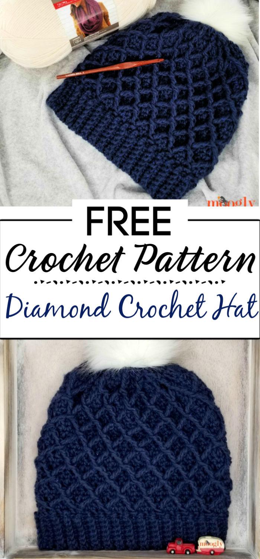 9. Diamond Crochet Hat