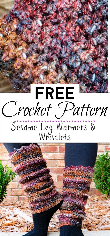 9. Sesame Leg Warmers Wristlets Free Crochet Patterns