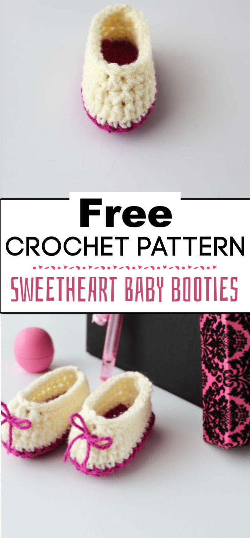 9. Sweetheart Crochet Baby Booties Pattern