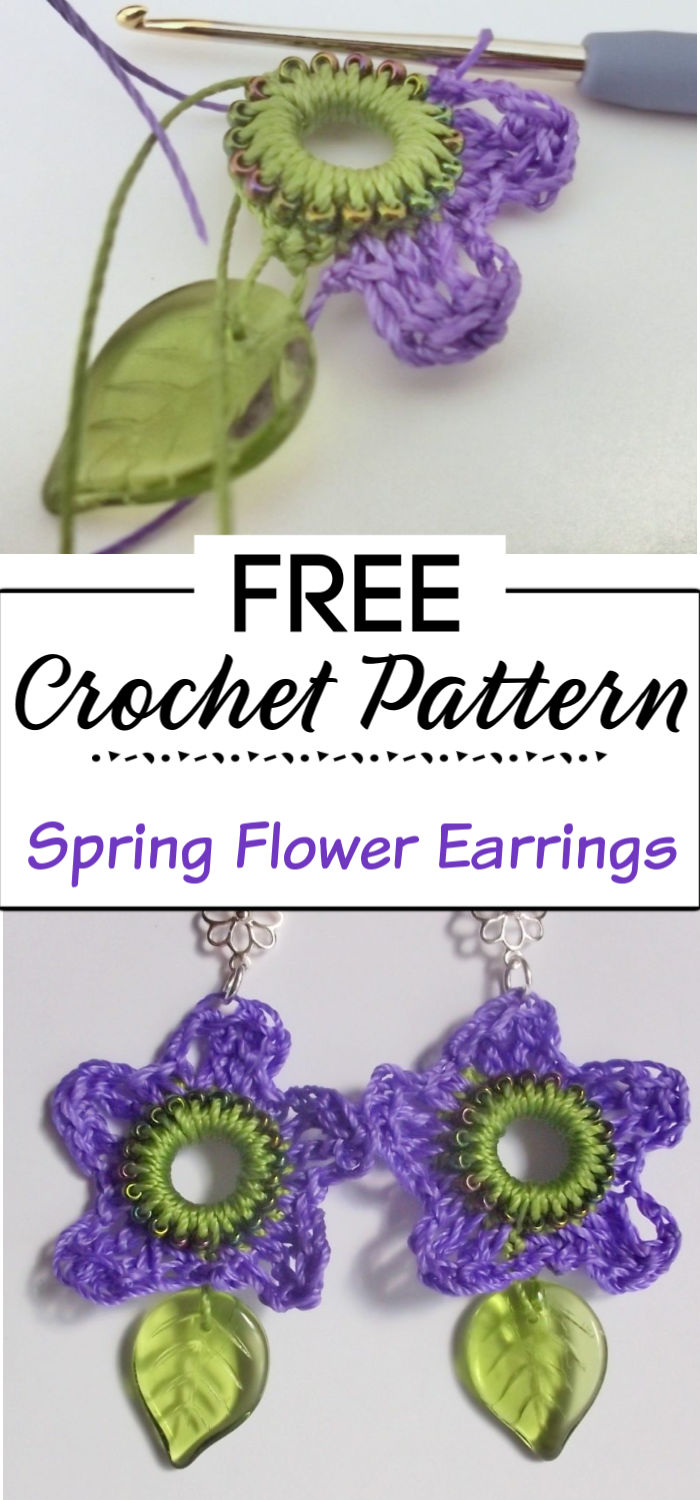 91. Crocheted Spring Flower Earrings