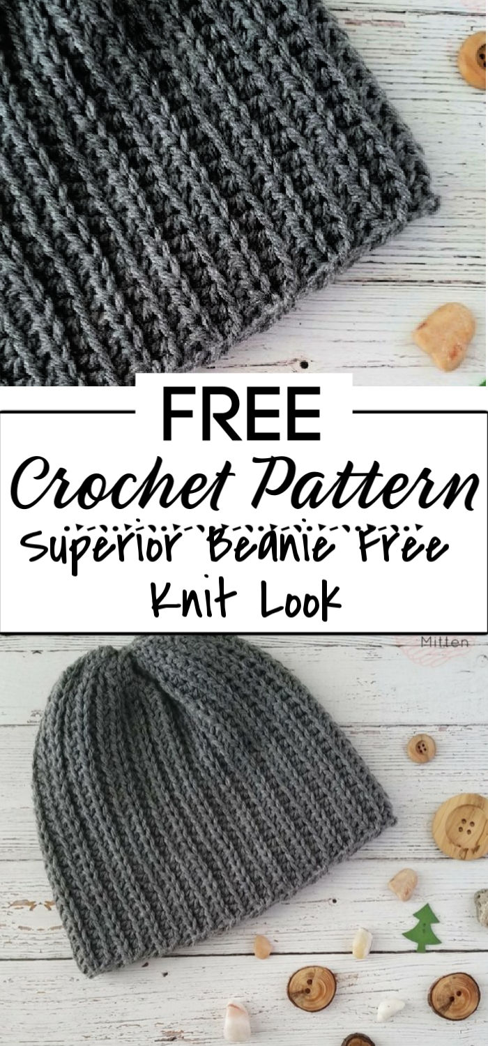 91. The Superior Beanie Free Knit Look Crochet Pattern
