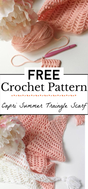 92. Capri Summer Crochet Traingle Scarf