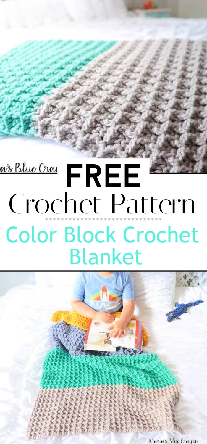 1. Color Block Crochet Blanket Free Crochet Pattern
