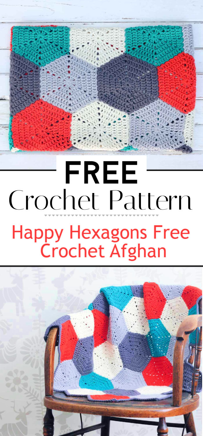 3. Happy Hexagons Free Crochet Afghan Pattern