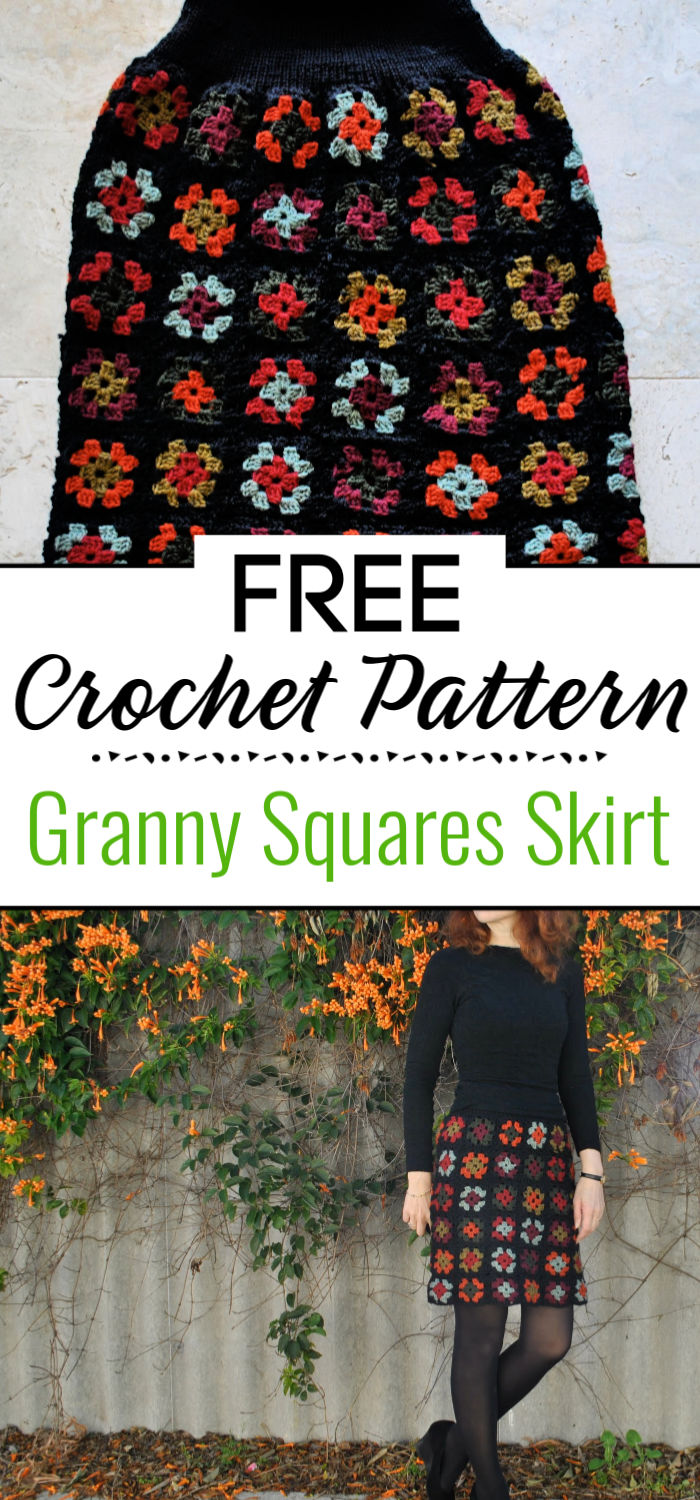 4. Crocheted Granny Squares Skirt