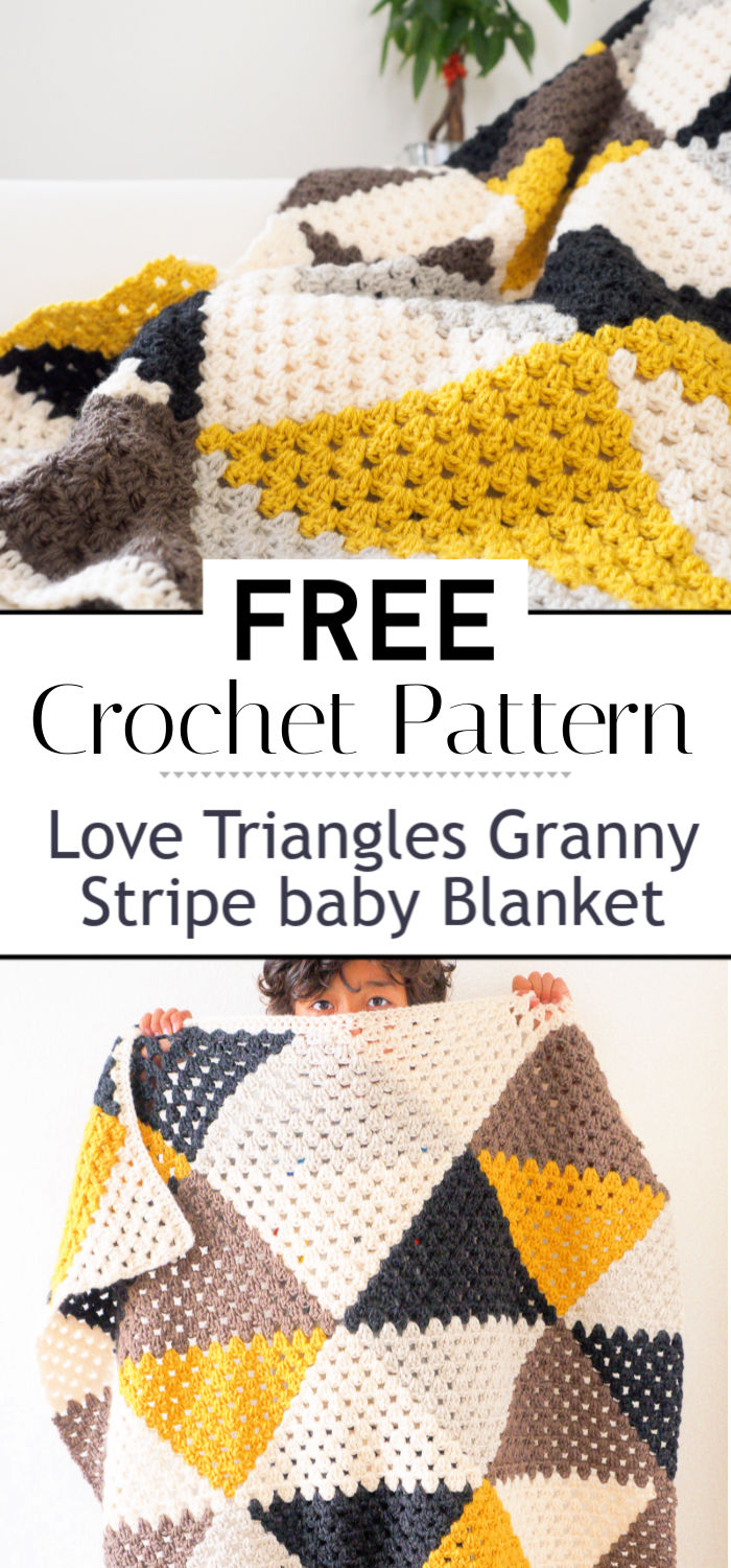4. Love Triangles Granny Stripe baby Blanket
