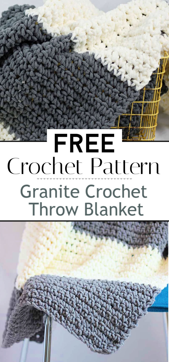6. Granite Crochet Throw Blanket Pattern