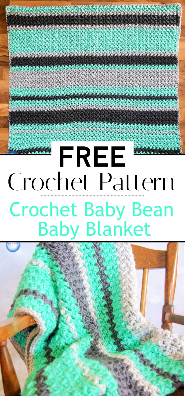 7. Crochet Baby Bean Baby Blanket Free Pattern