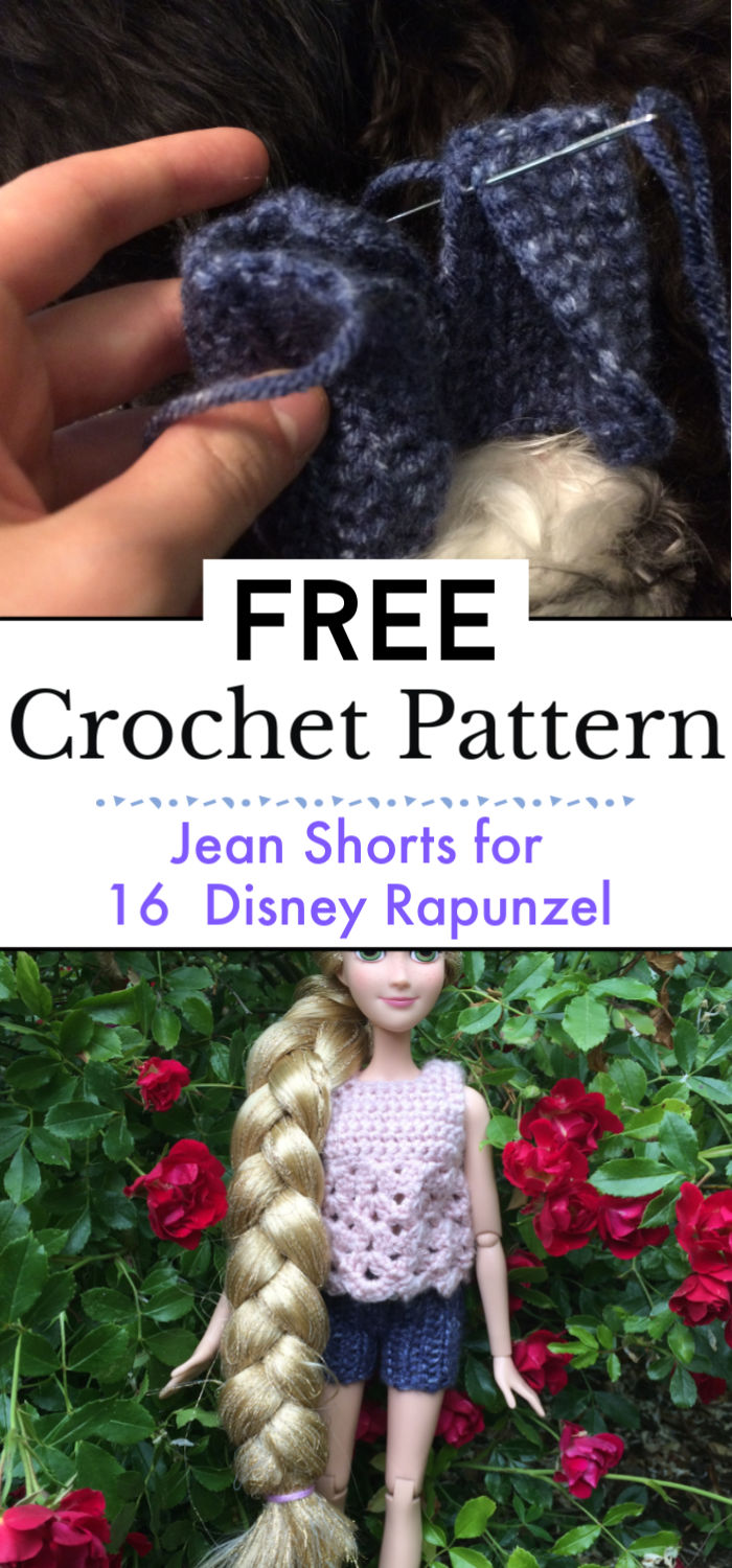 7. Jean Shorts for 16″ Disney Rapunzel Free Crochet Pattern