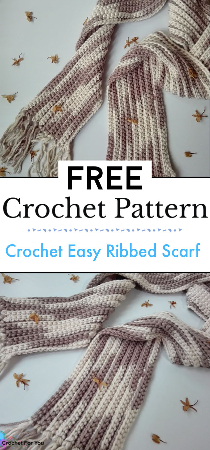 9. Crochet Easy Ribbed Scarf Free Pattern