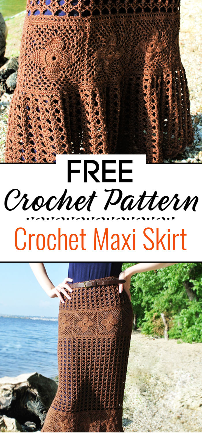 93. Crochet Maxi Skirt Free Pattern