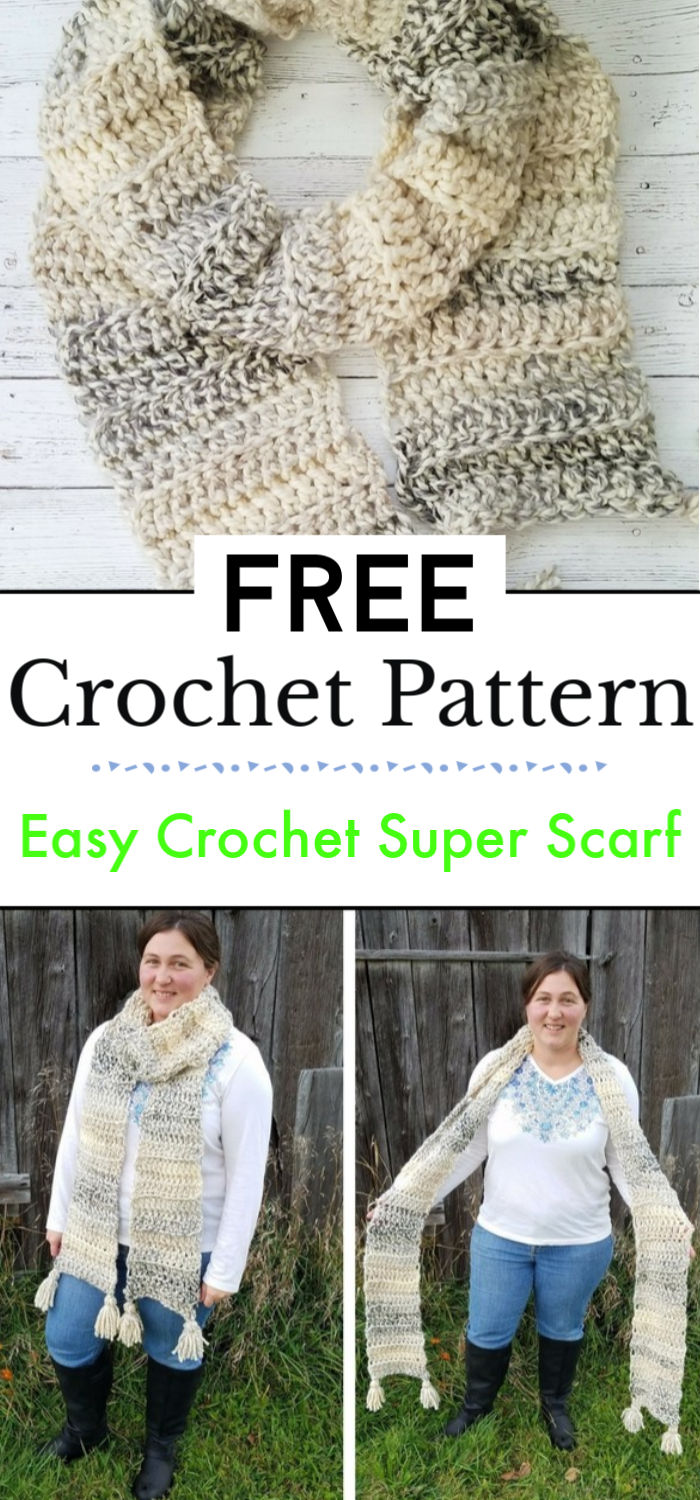 96. Easy Crochet Super Scarf Free Crochet Pattern