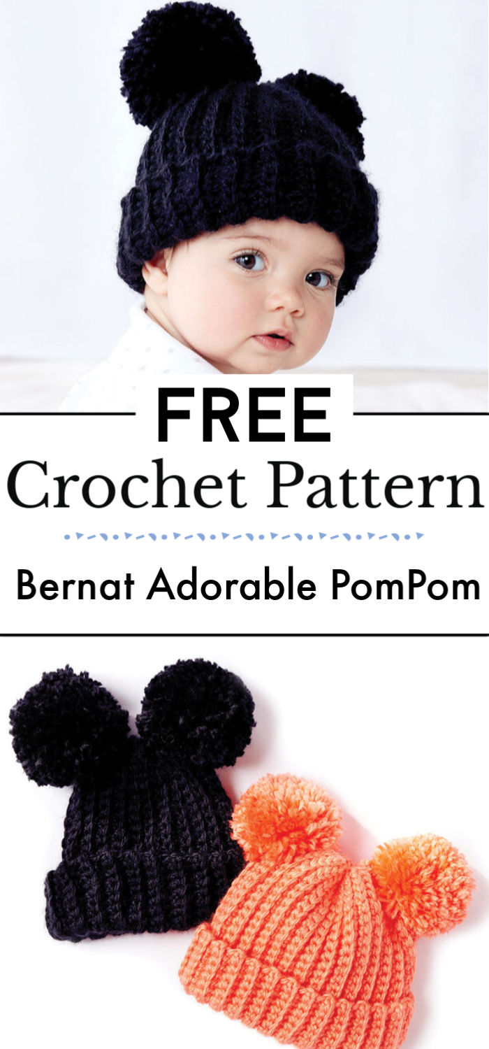 Bernat Adorable PomPom Crochet Hat