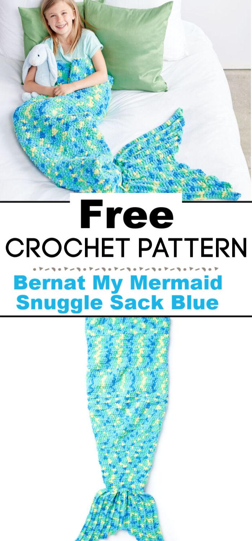 Bernat My Mermaid Crochet Snuggle Sack Blue