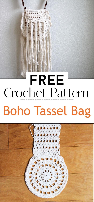 Boho Tassel Crochet Bag Free Pattern