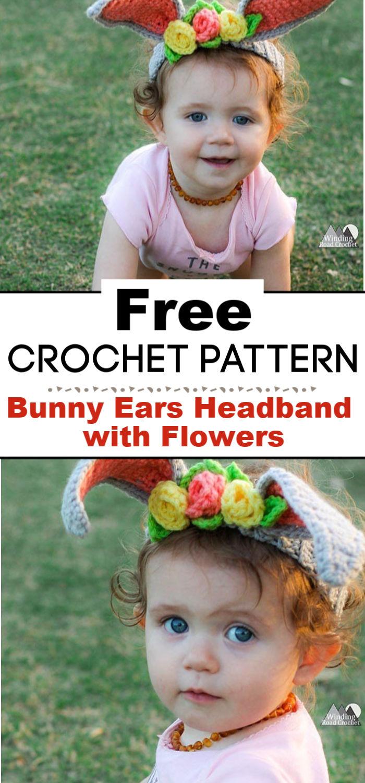 Crochet Bunny Ears Headband with Flowers