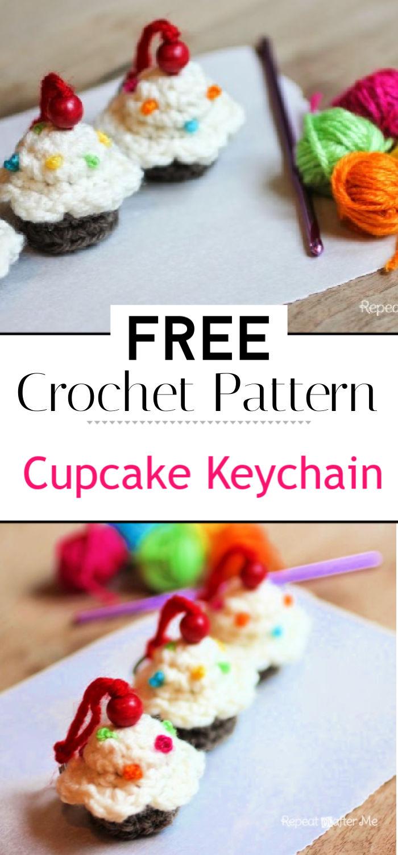 Crochet Cupcake Keychain Pattern