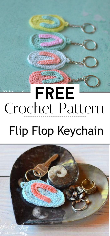 Crochet Flip Flop Keychain Free Crochet Pattern