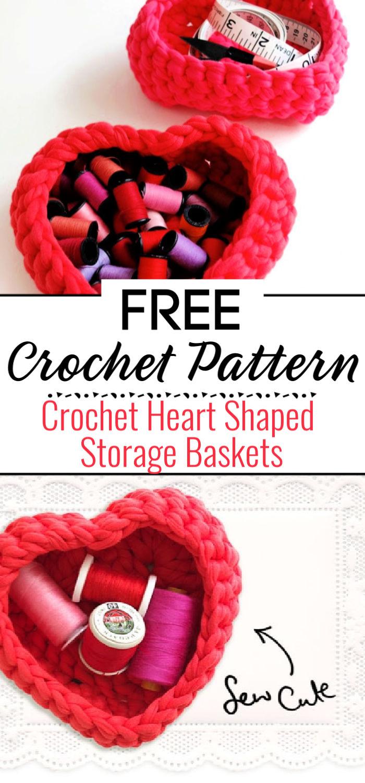 Crochet Heart Shaped Storage Baskets