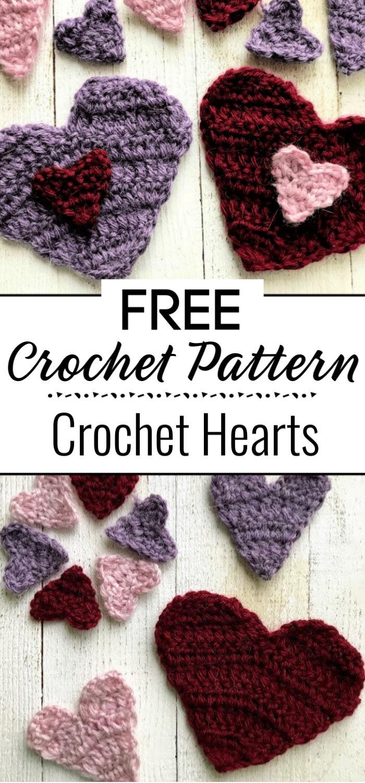 Crochet Hearts Free Pattern 1