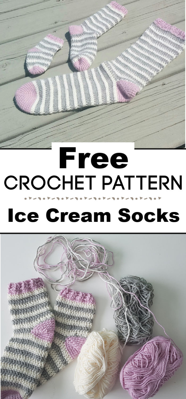 Crochet Pattern Ice Cream Socks