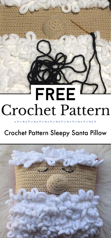 Crochet Pattern Sleepy Santa Pillow