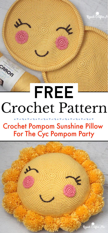 Crochet Pompom Sunshine Pillow For The Cyc Pompom Party