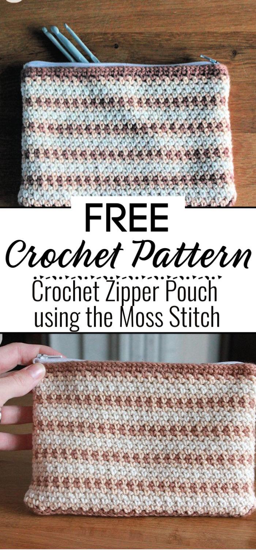 Crochet Zipper Pouch using the Moss Stitch Free Pattern