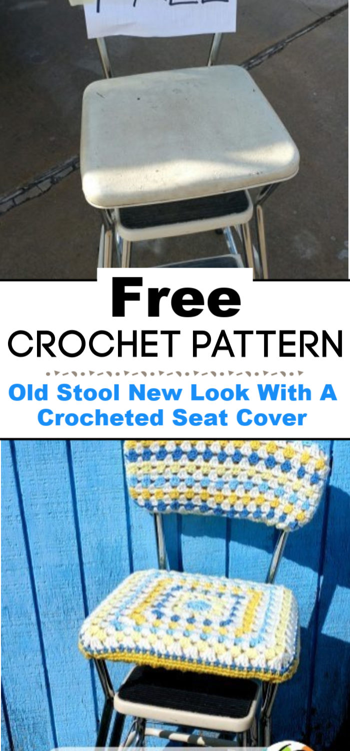 Diy Old Stool New Look With A Crocheted Seat Cover