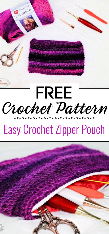 Easy Crochet Zipper Pouch Free Crochet Pattern