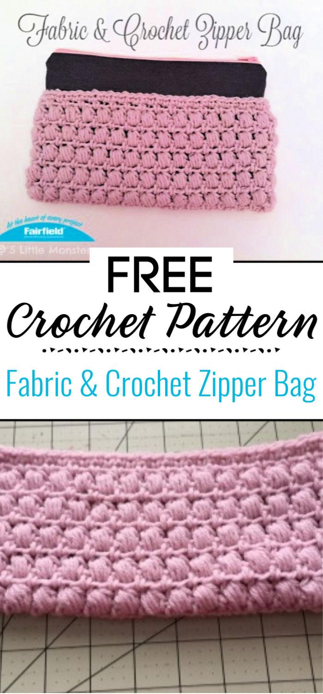 Fabric Crochet Zipper Bag